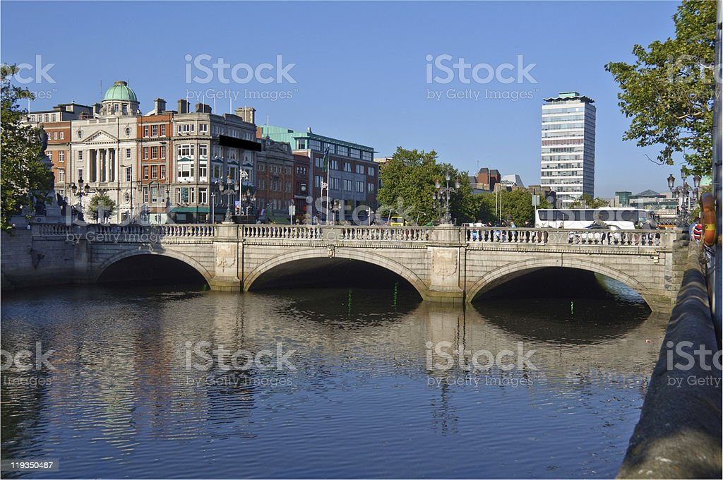 famous dublin city skyline in ireland stock photo