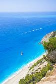 Famous Egremnoi beach in Lefkadaisland, Greece.