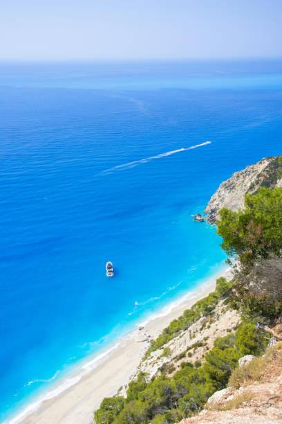 Famous Egremnoi beach in Lefkadaisland, Greece. stock photo
