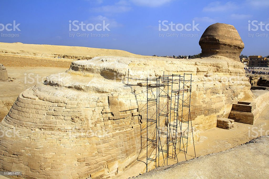 famous egypt sphinx in Giza from behind royalty-free stock photo