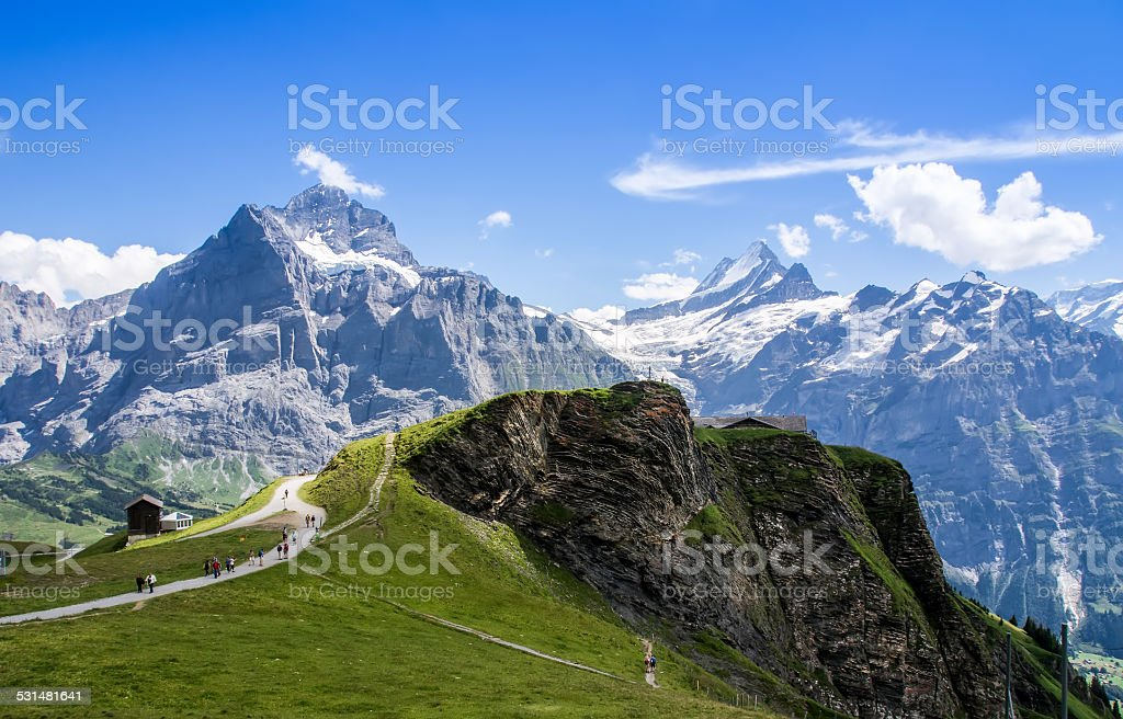 Famous Eiger, Monch and Jungfrau mountains in the Jungfrau regio stock photo