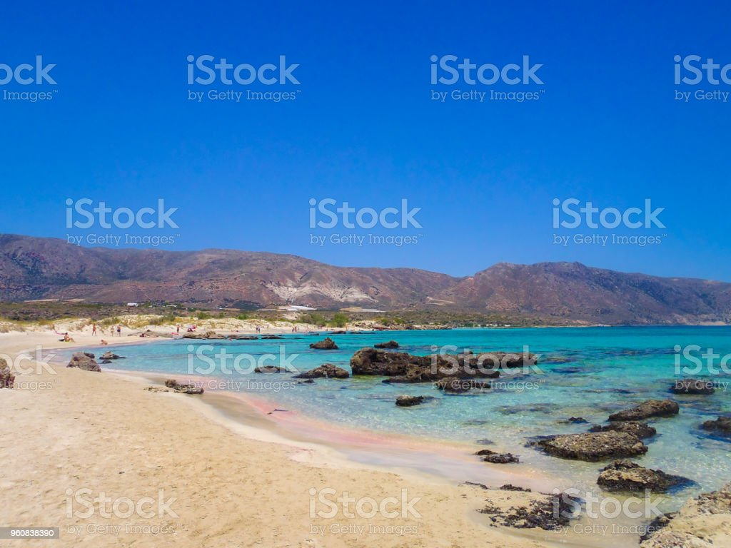 Famous Elafonisi Beach With The Pink Sand In South Crete