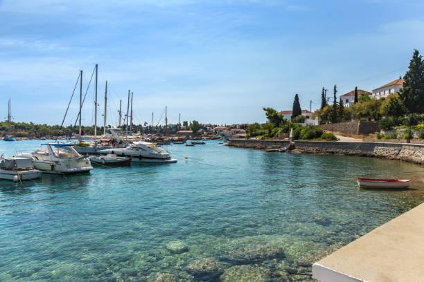 famous embankment of Spetses island, Greece stock photo