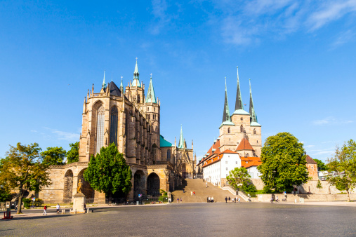Famous Erfurt Cathedral And St Severus Church In Thuringia Germany Stock Photo - Download Image Now
