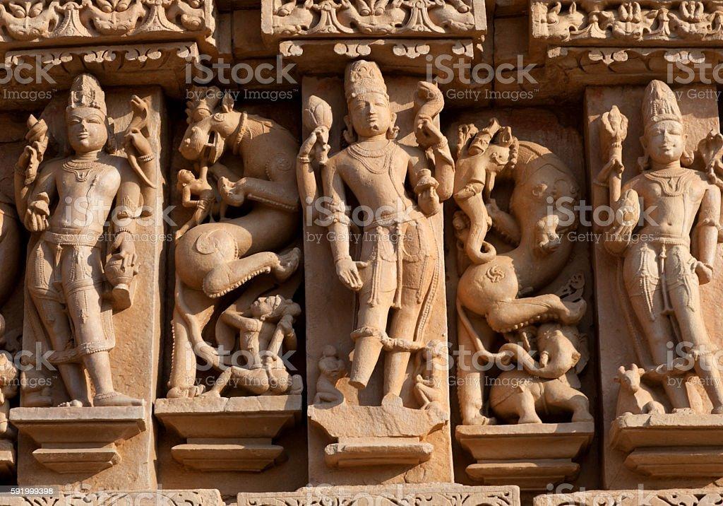 Famous erotic temple in Khajuraho, India stock photo