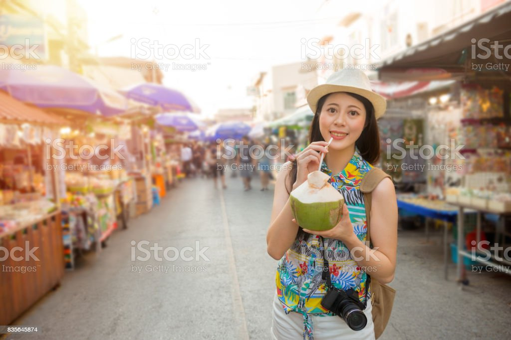 famous female blogger going to Thailand travel stock photo
