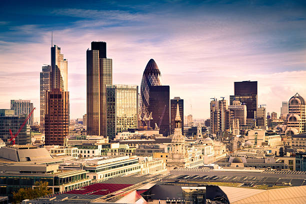 Famous financial district in London stock photo