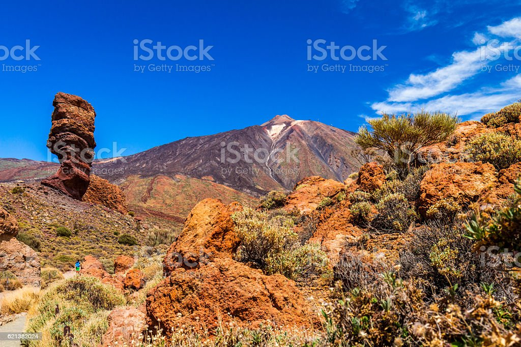 Famous Finger Of God rock in Teide national park stock photo