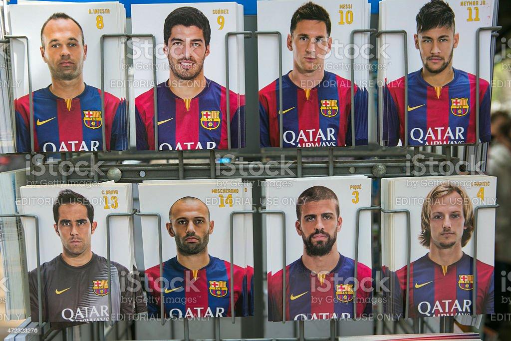 Jugador de fútbol del famoso tarjetas en barcelona, España - foto de stock