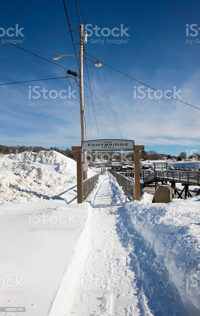 Famous footbridge in Boothbay Harbor, Maine stock photo