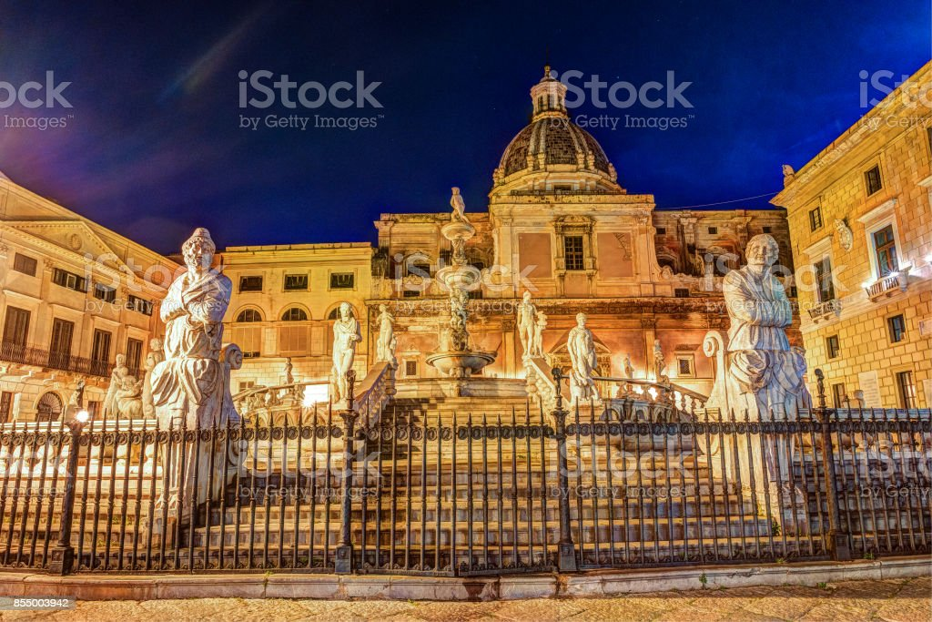 Famous fountain of shame on baroque Piazza Pretoria, Palermo, Sicily stock photo