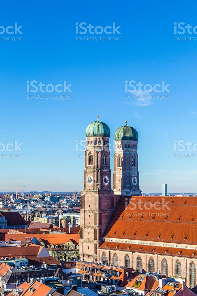 famous Frauenkirche in  Munich stock photo
