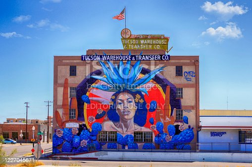 istock Famous giant mural on the side of the Tucson Warehouse & Transfer Co building in the arts district of Tucson AZ 1227045671