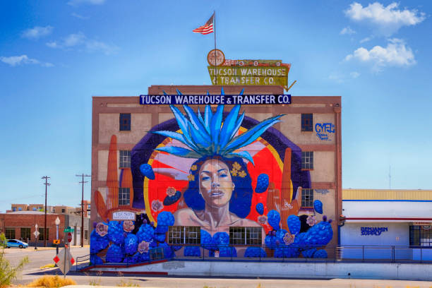 Famous giant mural on the side of the Tucson Warehouse & Transfer Co building in the arts district of Tucson AZ stock photo