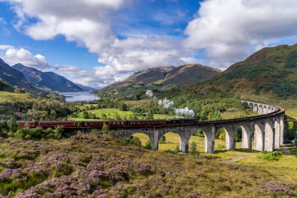 Famous Glenfinnan Railway Viaduct in Scotland stock photo