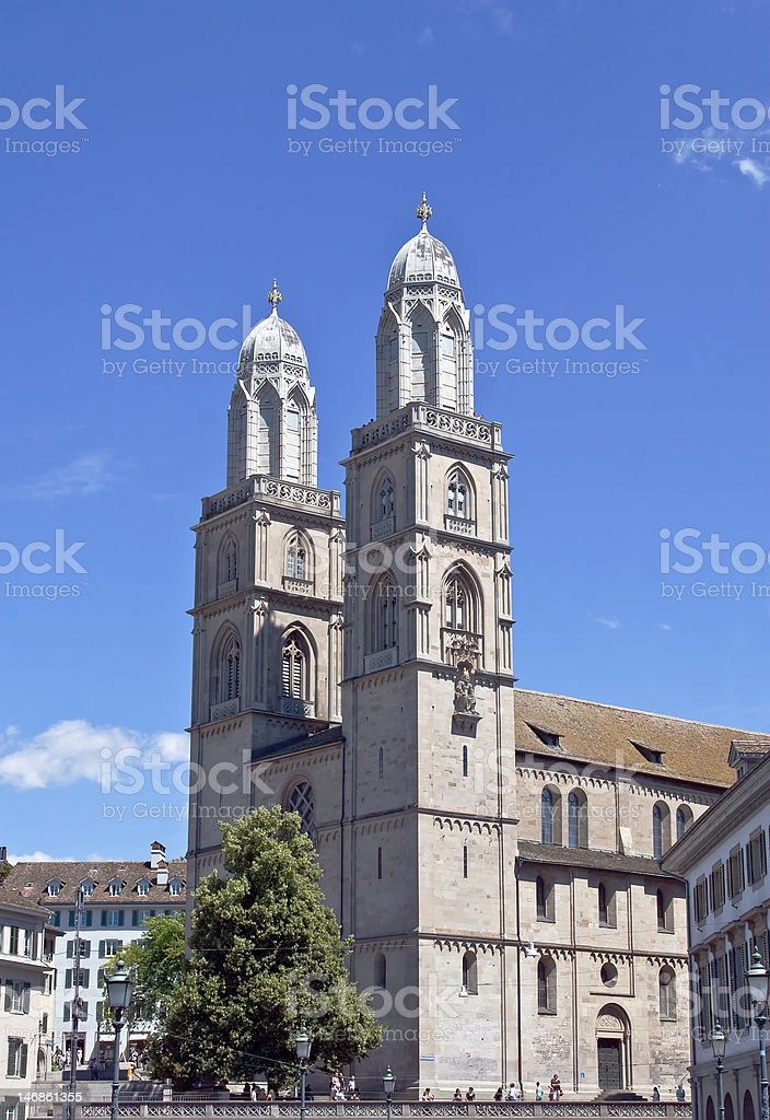 Famous Grossmunster church in Zurich royalty-free stock photo
