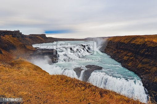 Famous Gulfoss waterfall on the Golden Circle at western side Iceland near Reykjavik