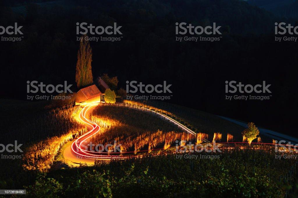 Famous Heart shaped wine road in Slovenia,  view from Spicnik near Maribor. Happy Valentines day. stock photo