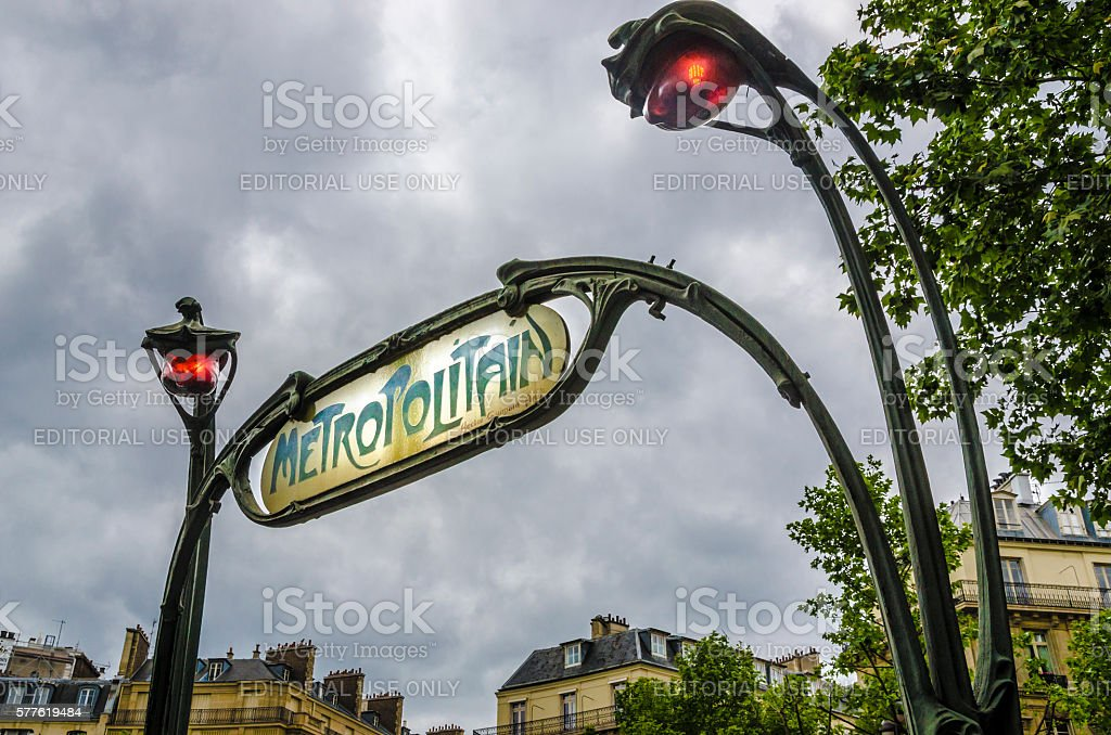 Famous historic Art Nouveau entrance sign for the Metropolitain stock photo