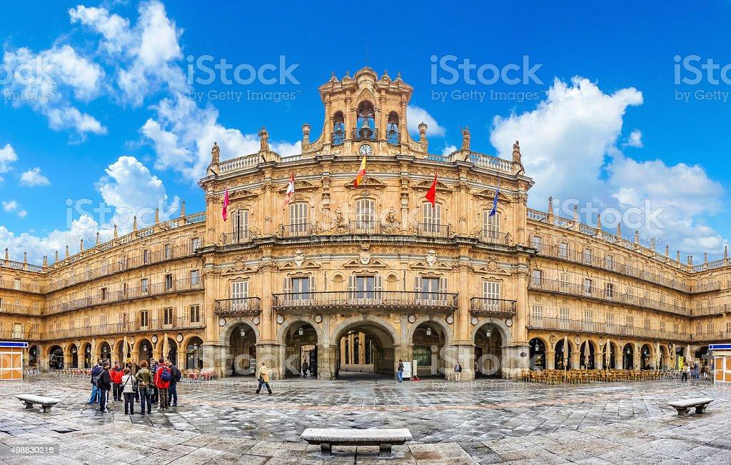 Famous historic Plaza Mayor in Salamanca, Castilla y Leon, Spain stock photo