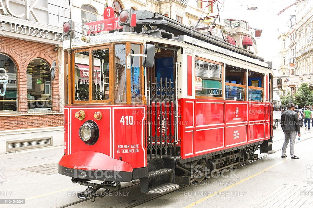 Famous historical tram in the center of Istanbul stock photo