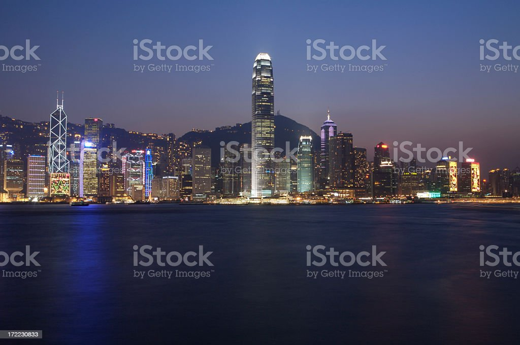 Famous Hong Kong Skyline at Twilight royalty-free stock photo