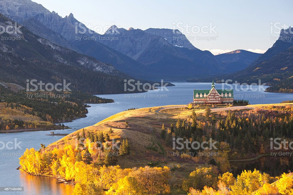 Famous Hotel in the Canadian Rockies stock photo