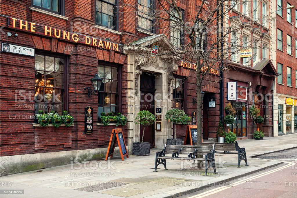 Famous Hung Drawn & Quartered pub in London. stock photo