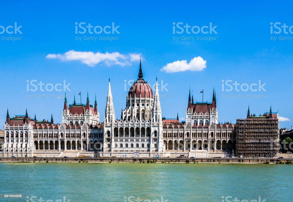 famous Hungarian parliament in Budapest stock photo
