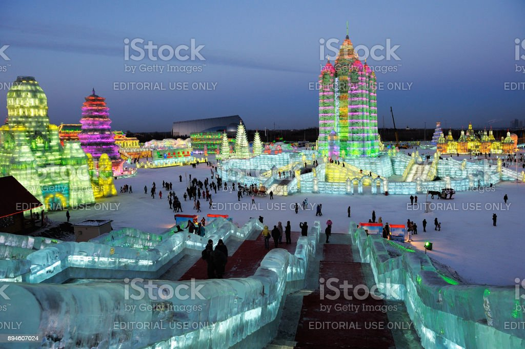 Famous Ice & Snow World Festival park with illuminated ice sculptures and structures. stock photo