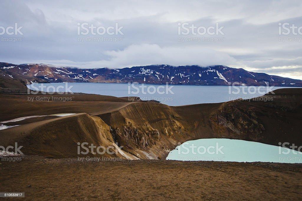 Famous Icelandic Volcano Askja Crater in Summer stock photo