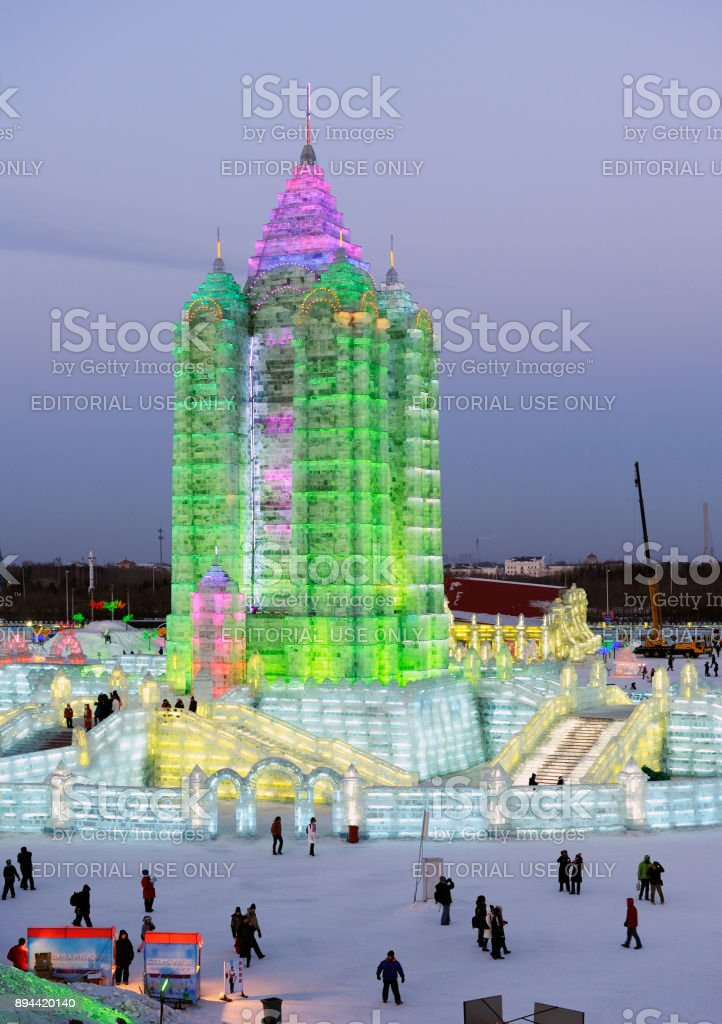 Famous illuminated ice sculptures and structure at annual Harbin Ice & Snow World Festival stock photo