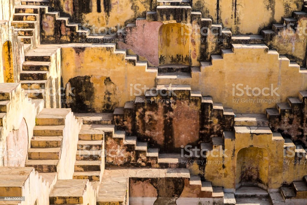 Famous Indian stepwell near Jaipur, Rajasthan. stock photo