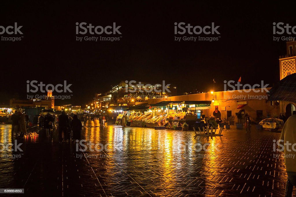 Famous Jemaa el Fna square crowded . Marrakesh, Morocco stock photo