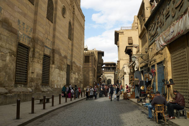 Famous Khan el-Khalili Bazaar of Islamic Cairo, Egypt in Northern Africa stock photo