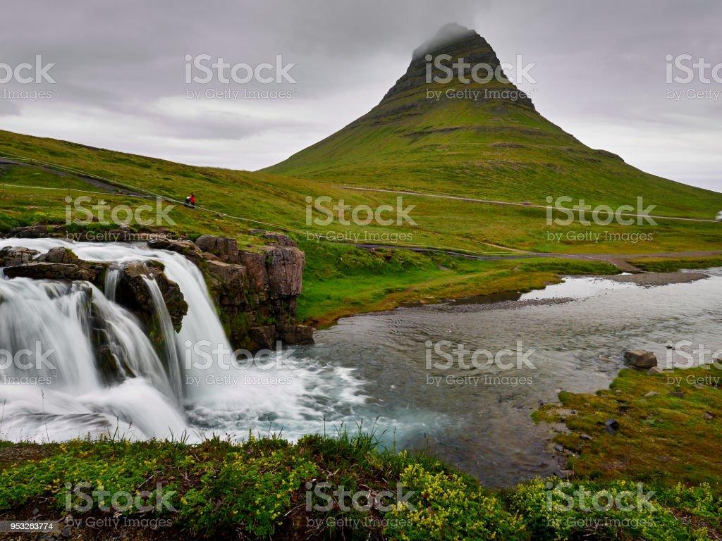 Famous Kirkjufell mountain in Iceland stock photo