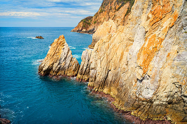 Famous La Quebrada Diving Cliffs in Acapulco Mexico stock photo