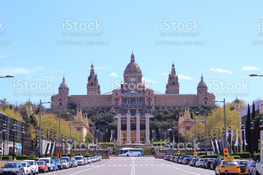 Famous landmark Fira Barcelona Montjuic stock photo