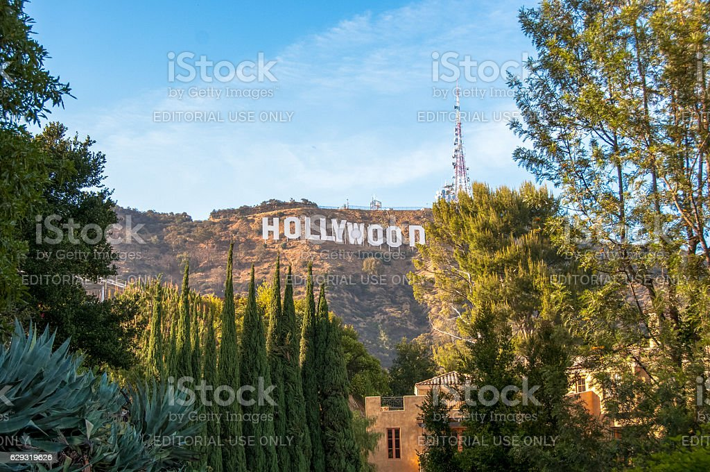 Famous landmark Hollywood Sign in Los Angeles, California. stock photo