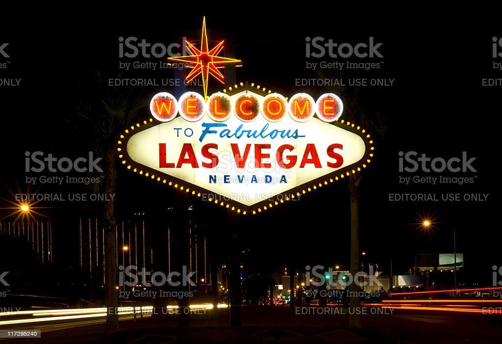 Famous landmark Las Vegas sign illuminated at night royalty-free stock photo