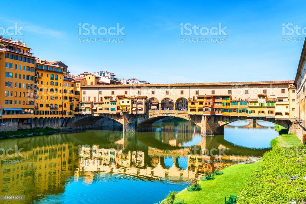 Famous landmark Ponte Vecchio in Florence, Italy. stock photo
