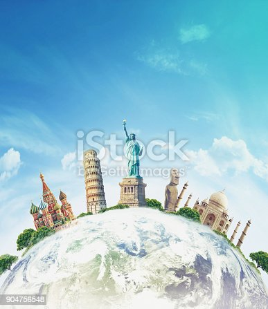 istock Famous landmarks of the world grouped together on globe 904756548