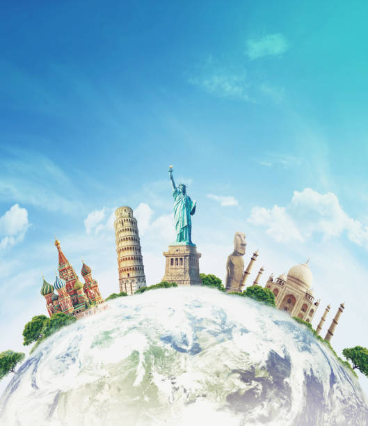Famous landmarks of the world grouped together on globe stock photo