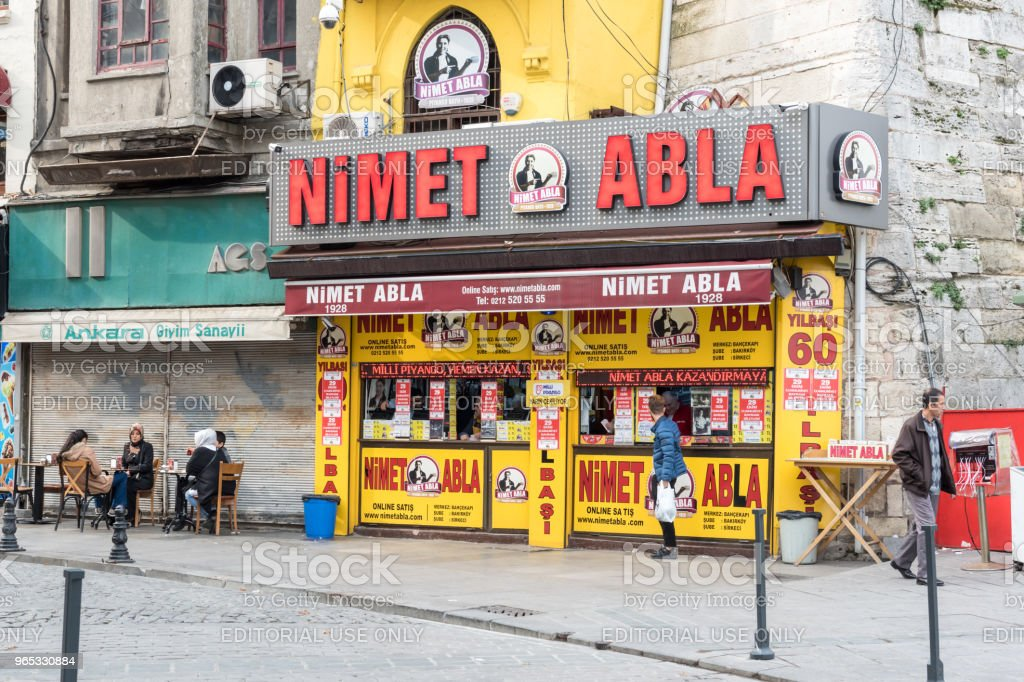 Famous Lottery Seller,dealer in Istanbul,Turkey royalty-free stock photo