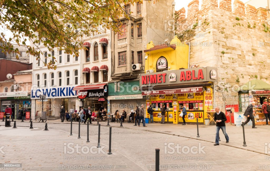 著名彩票賣家, 轉銷商在伊斯坦布爾, 土耳其 - 免版稅人圖庫照片