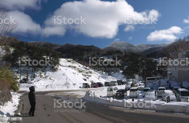 Photo of Famous Manza onsen mountain hot spring winter scenery