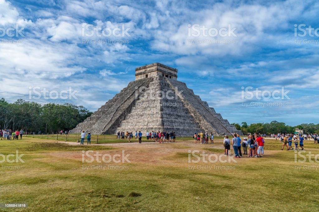 Famous Mayan ruins of Chichen Itza in Mexico stock photo
