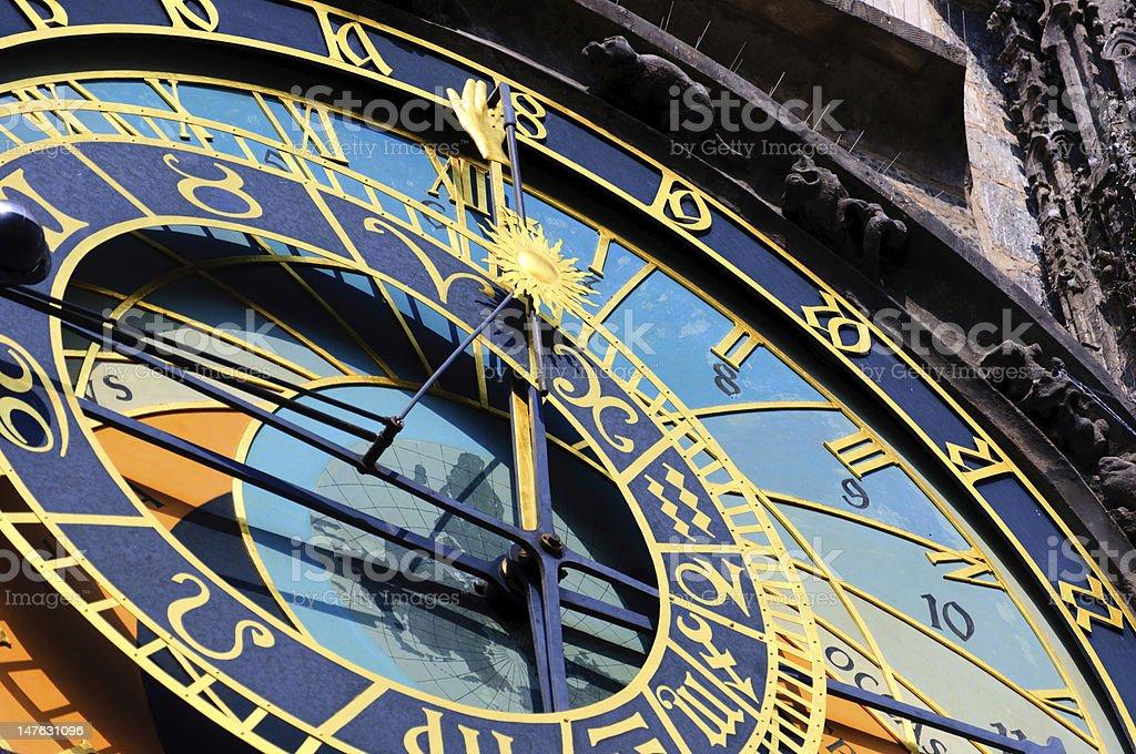 Famous medieval astronomical clock in Prague, Czech Republic stock photo