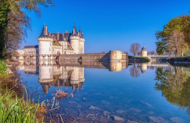 Famous medieval castle Sully sur Loire, Loire valley, France. stock photo