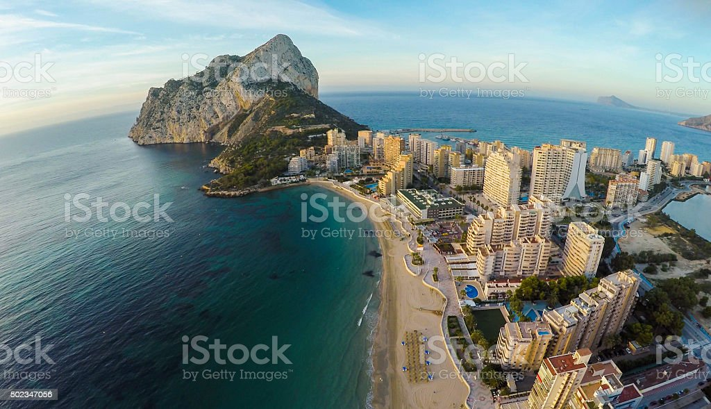 Famous Mediterranean Resort Calpe in Spain / STUNNING VIDEO ALSO stock photo
